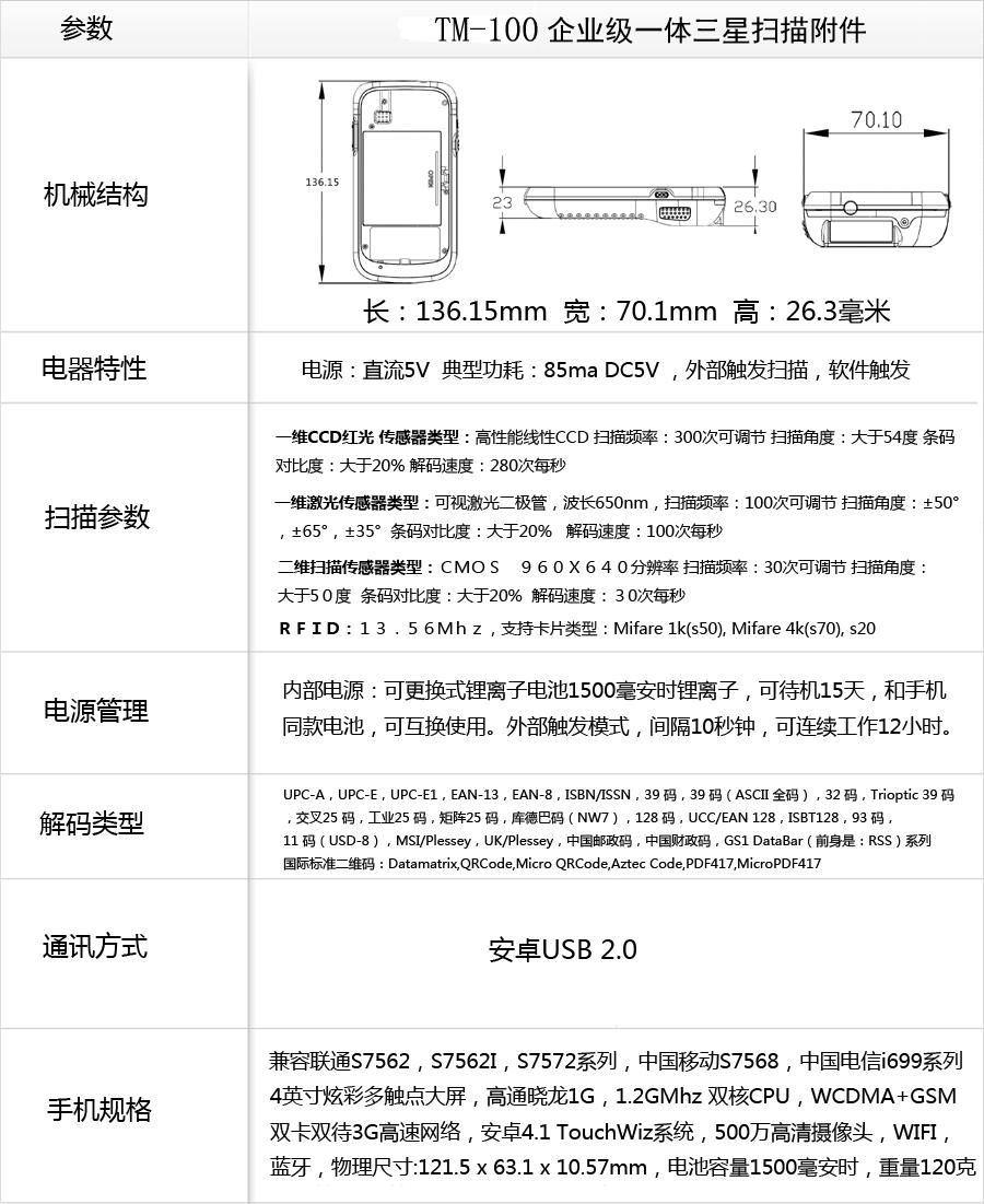 三星安卓手机连接扫描枪参数一览表